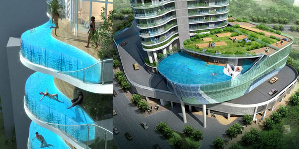 Suspendidos en el vac o piscinas con paredes de vidrio - Cuanto vale construir una piscina ...
